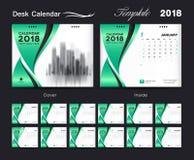 Progettazione 2018, copertura verde della disposizione del modello del calendario da scrivania Immagini Stock