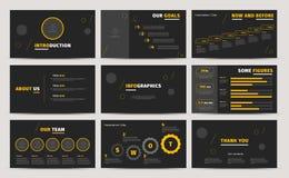 Progettazione corporativa degli scorrevoli di presentazione Proposta o rapporto annuale creativa di affari Modello completo di in illustrazione di stock