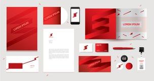 Progettazione corporativa di vettore per i materiali illustrativi di affari Elementi rossi Fotografie Stock Libere da Diritti