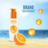 Progettazione cosmetica di protezione di Sun Fotografie Stock Libere da Diritti