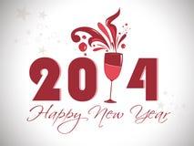 Progettazione creativa del buon anno 2014 con il manifesto, l'insegna o gli inviti del partito di vetro .celebration del champagne Fotografia Stock