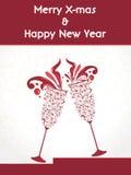 Progettazione creativa del buon anno 2014 con il manifesto, l'insegna o gli inviti del partito di vetro .celebration del champagne Fotografie Stock