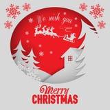 Progettazione creativa del buon anno Buon anno e Buon Natale, arte di carta e stile del mestiere Immagini Stock Libere da Diritti