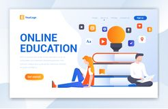 Progettazione creativa del modello del sito Web di istruzione online - vettore illustrazione vettoriale