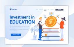 Progettazione creativa del modello del sito Web di istruzione per istruzione Concetto dell'illustrazione di vettore di progettazi royalty illustrazione gratis