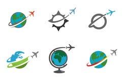 Progettazione creativa dell'aeroplano del pianeta della terra del cerchio Immagine Stock