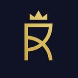 Progettazione creativa dell'icona di logo della lettera R con la corona Immagine Stock Libera da Diritti