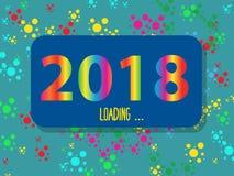 Progettazione creativa della carta del ` s del nuovo anno nel 2018 su un fondo moderno Numeri e cerchi colorati differenti illustrazione di stock