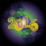 Progettazione creativa della cartolina d'auguri del buon anno 2016 Fotografie Stock Libere da Diritti