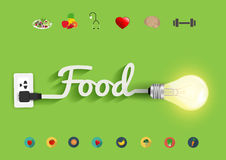 Progettazione creativa della lampadina di concetto di idee dell'alimento di vettore Fotografie Stock