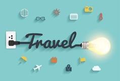 Progettazione creativa della lampadina di concetto di idee di viaggio di vettore Fotografia Stock