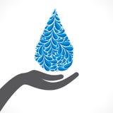 Progettazione creativa di goccia di acqua a disposizione o conservare acqua illustrazione di stock