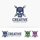 Progettazione creativa di logo del cranio Fotografia Stock