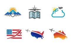 Progettazione creativa di simbolo della terra dell'aeroplano del mondo Immagini Stock Libere da Diritti