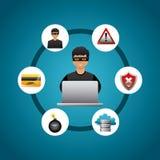 Progettazione cyber di sicurezza Immagini Stock Libere da Diritti