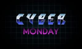 Progettazione cyber futuristica dell'insegna di lunedì fotografia stock