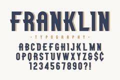 Progettazione d'annata d'avanguardia della fonte dell'esposizione di Franklin, alfabeto illustrazione di stock