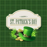 Progettazione d'annata del distintivo di festa di giorno della st Patricks Illustrazione di vettore illustrazione di stock