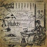 Progettazione d'annata del documento introduttivo del collage di calligrafia - penne stilografiche - inchiostro - alfabeto - inie fotografia stock libera da diritti