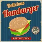 Progettazione d'annata del manifesto dell'hamburger Immagine Stock