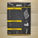 Progettazione d'annata del menu degli alimenti a rapida preparazione del disegno di gesso Immagine Stock