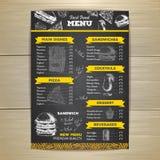 Progettazione d'annata del menu degli alimenti a rapida preparazione del disegno di gesso Fotografie Stock Libere da Diritti