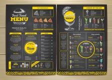 Progettazione d'annata del menu degli alimenti a rapida preparazione del disegno di gesso Fotografie Stock