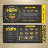 Progettazione d'annata del menu degli alimenti a rapida preparazione del disegno di gesso Fotografia Stock