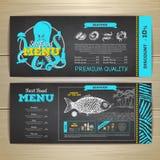 Progettazione d'annata del menu dei frutti di mare del disegno di gesso Immagini Stock Libere da Diritti