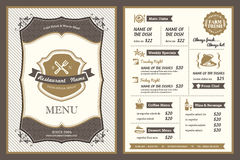 Progettazione d'annata del menu del ristorante della pagina Immagini Stock