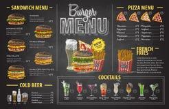 Progettazione d'annata del menu dell'hamburger del disegno di gesso Menu degli alimenti a rapida preparazione illustrazione di stock