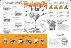 Progettazione d'annata del menu di Halloween Il pranzo di cerimonia nuziale con la carne del rullo ha fumato e pomodori Immagine Stock Libera da Diritti