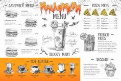 Progettazione d'annata del menu di Halloween Il pranzo di cerimonia nuziale con la carne del rullo ha fumato e pomodori Fotografia Stock Libera da Diritti