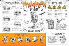 Progettazione d'annata del menu di Halloween Il pranzo di cerimonia nuziale con la carne del rullo ha fumato e pomodori Fotografie Stock Libere da Diritti