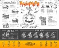 Progettazione d'annata del menu di Halloween Il pranzo di cerimonia nuziale con la carne del rullo ha fumato e pomodori Immagine Stock