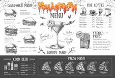 Progettazione d'annata del menu di Halloween Il pranzo di cerimonia nuziale con la carne del rullo ha fumato e pomodori Fotografia Stock