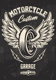 Progettazione d'annata del motociclista con la ruota alata illustrazione vettoriale