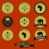 Progettazione d'annata dell'etichetta dell'Africa Fotografia Stock