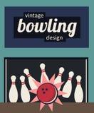 Progettazione d'annata di bowling - colpisca nei colori antiquati Fotografie Stock