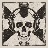 Progettazione d'annata di lerciume di vettore punk di musica del cranio illustrazione vettoriale