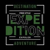 Progettazione d'annata di tipografia della natura di avventura di spedizione illustrazione di stock