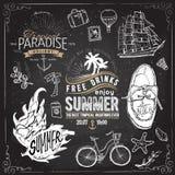 Progettazione d'annata di tipografia di estate con le etichette, Illustrazione Vettoriale