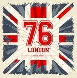 Progettazione d'annata di vettore della stampa del T della bandiera del Regno Unito Fotografia Stock