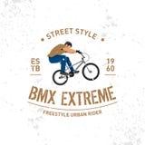 Progettazione d'annata estrema della maglietta di Bmx Stile estremo della via della bici Progettazione della maglietta, stampa pe illustrazione vettoriale