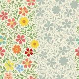 Progettazione d'annata floreale a strisce insolita del confine con i fiori disegnati a mano Modello senza cuciture di vettore con illustrazione vettoriale