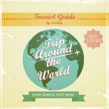 Progettazione d'annata - guida di viaggio al mondo Fotografia Stock Libera da Diritti