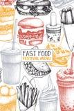 Progettazione d'annata per il fast food Modello del menu dell'alimento della via di vettore con l'hamburger disegnato a mano, fra illustrazione di stock