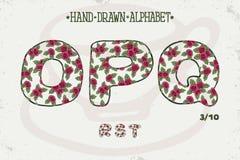 Progettazione d'annata romantica di alfabeto Lettere inglesi Stile elegante misero delle rose rosse Tipografia di vettore della f Fotografia Stock