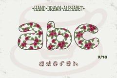 Progettazione d'annata romantica di alfabeto Lettere inglesi Stile elegante misero delle rose rosse Tipografia di vettore della f Immagine Stock
