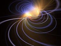 Progettazione d'ardore moderna di forma con incandescenza Piste leggere energetiche Estratto cosmico brillante luminoso delle luc illustrazione vettoriale